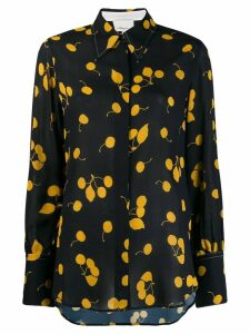 3.1 Phillip Lim Long-Sleeved Cerise Print Silk Blouse - Black