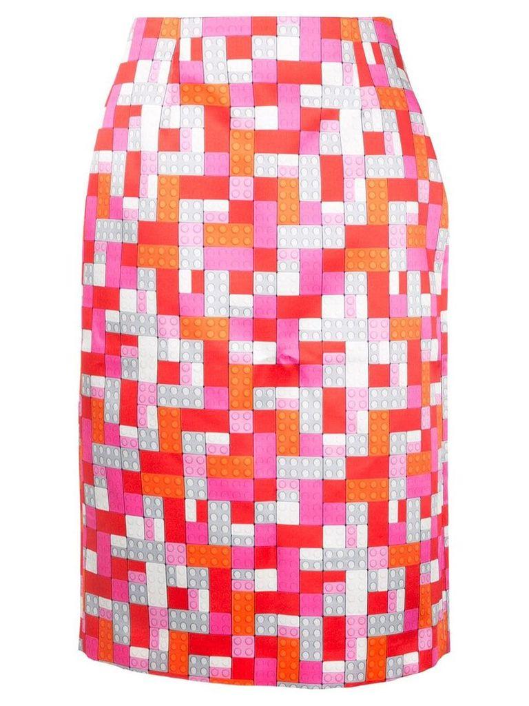 Mary Katrantzou Sigma lego print skirt - Red