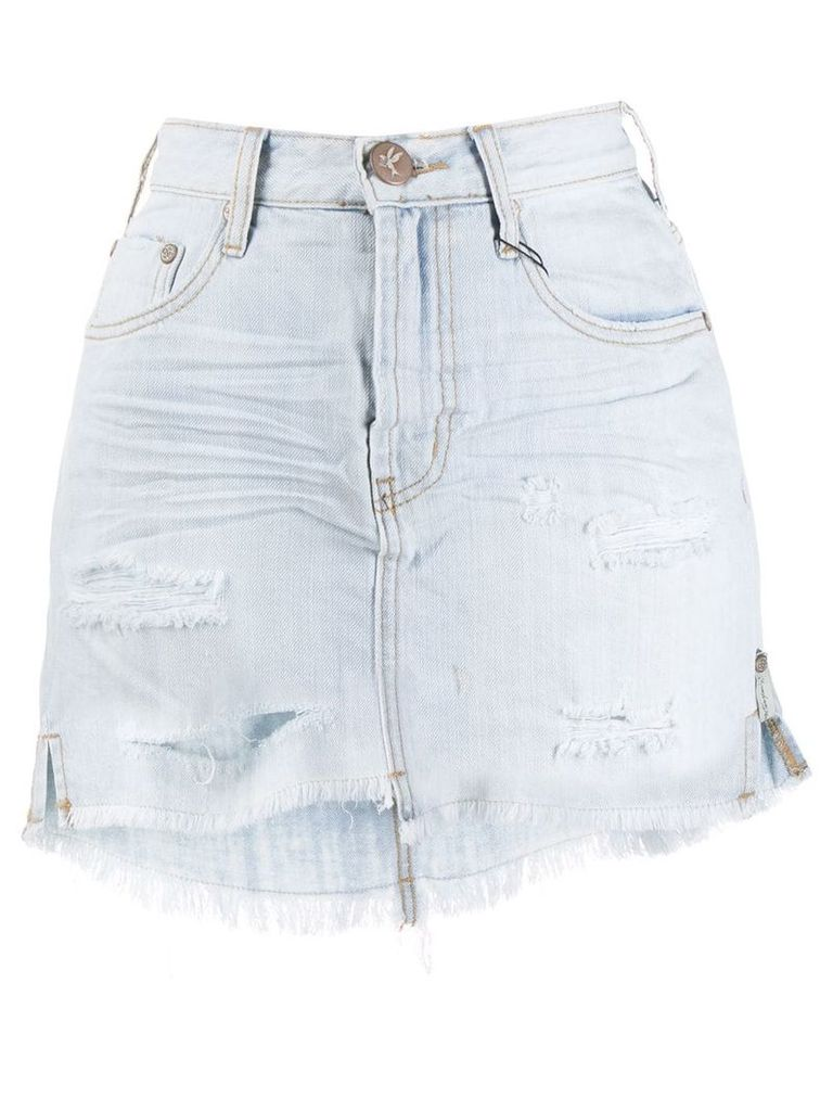 ONE TEASPOON distressed denim skirt - Blue
