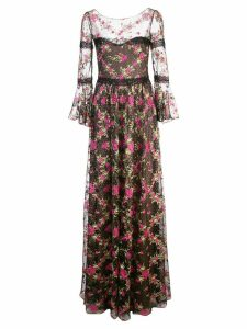 Marchesa Notte floral embellished tulle gown - Black