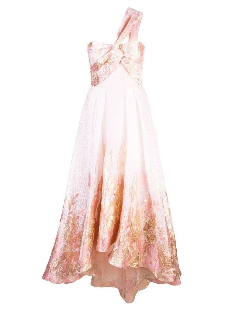 Marchesa Notte one-shoulder Hi Lo midi tea dress - Pink