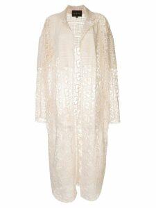 Biyan crochet midi coat - White