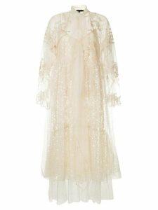 Biyan layered embellished midi dress - White