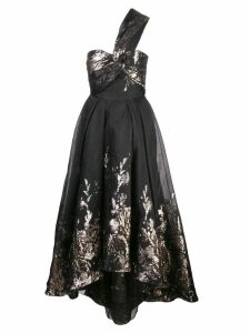 Marchesa Notte one-shoulder Hi Lo midi tea dress - Black