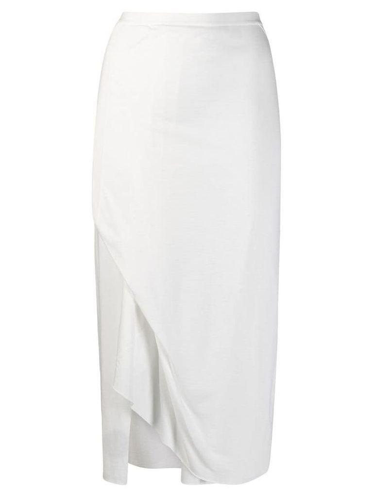 Rick Owens Lilies front slit midi skirt - White