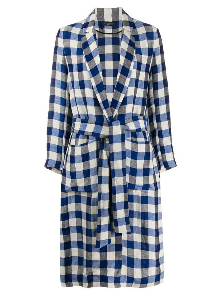 Antonelli gingham trench coat - Blue