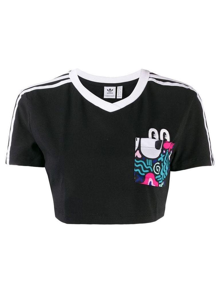 Adidas three stripes cropped T-shirt - Black