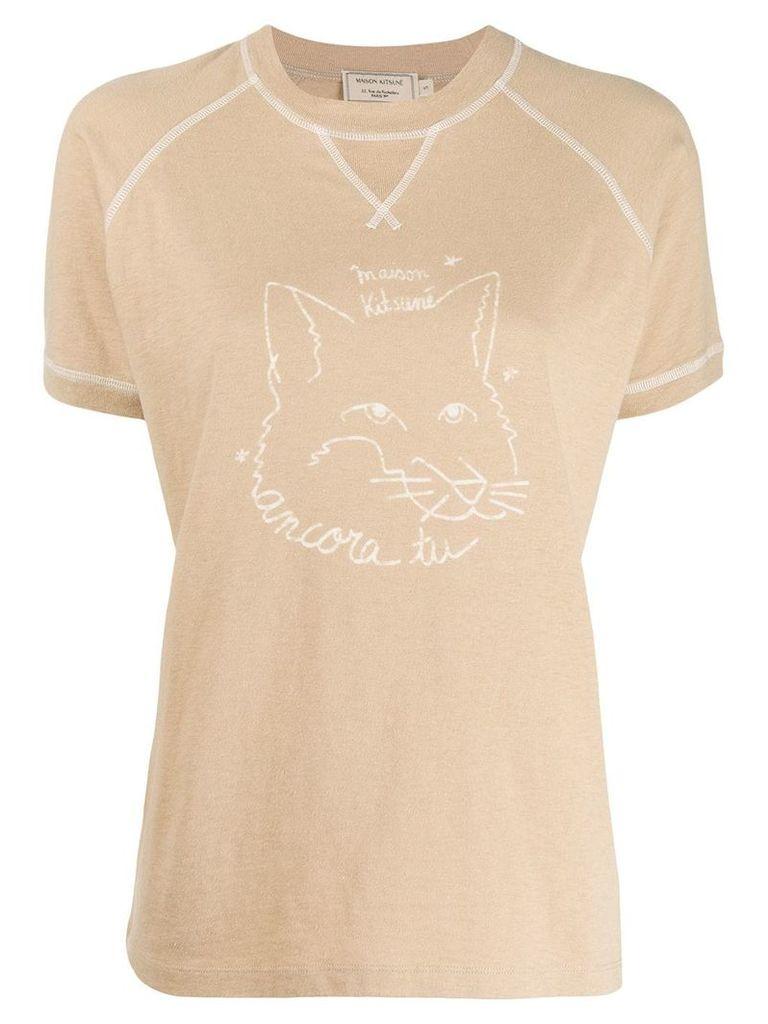 Maison Kitsuné contrast logo T-shirt - Neutrals