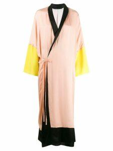 Haider Ackermann colour block robe wrap dress - Pink