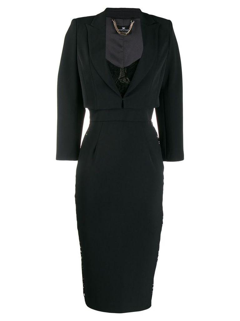 Elisabetta Franchi lace panel dress - Black