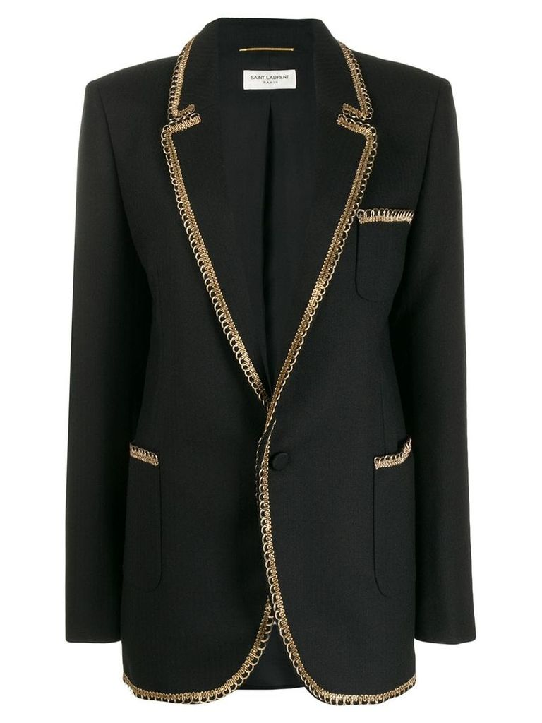 Saint Laurent contrast-trim blazer - Black
