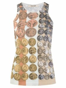 Roberto Cavalli Stripes & Coins knitted tank top - Neutrals