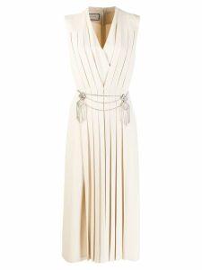 Gucci pleated v-neck dress - Neutrals