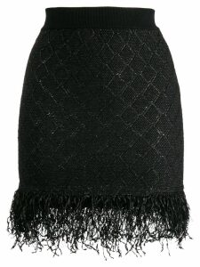 Balmain frayed hem skirt - Black
