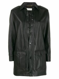 Saint Laurent single-breasted fitted coat - Black