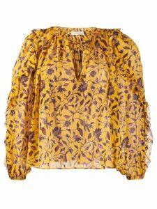 Ulla Johnson floral long-sleeve blouse - Yellow
