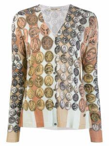Roberto Cavalli Stripes & Coins cardigan - Neutrals
