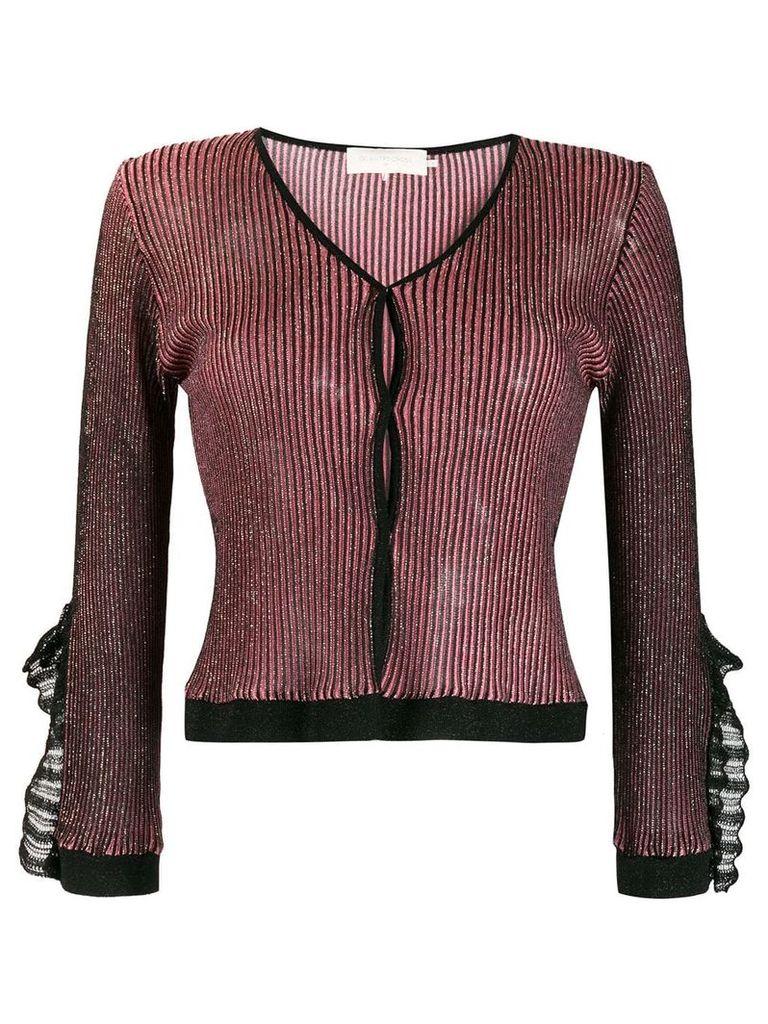 L'Autre Chose metallic ruffled cuff cardigan - Black