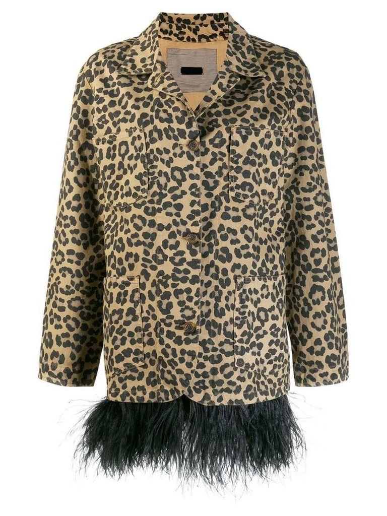 Simonetta Ravizza feather trim leopard print coat - Neutrals