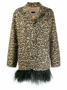 Simonetta Ravizza feather trim leopard print coat - Neutrals