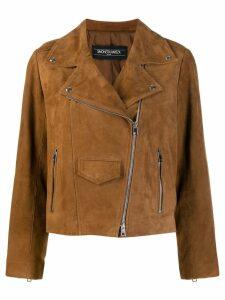 Simonetta Ravizza textured biker jacket - Brown