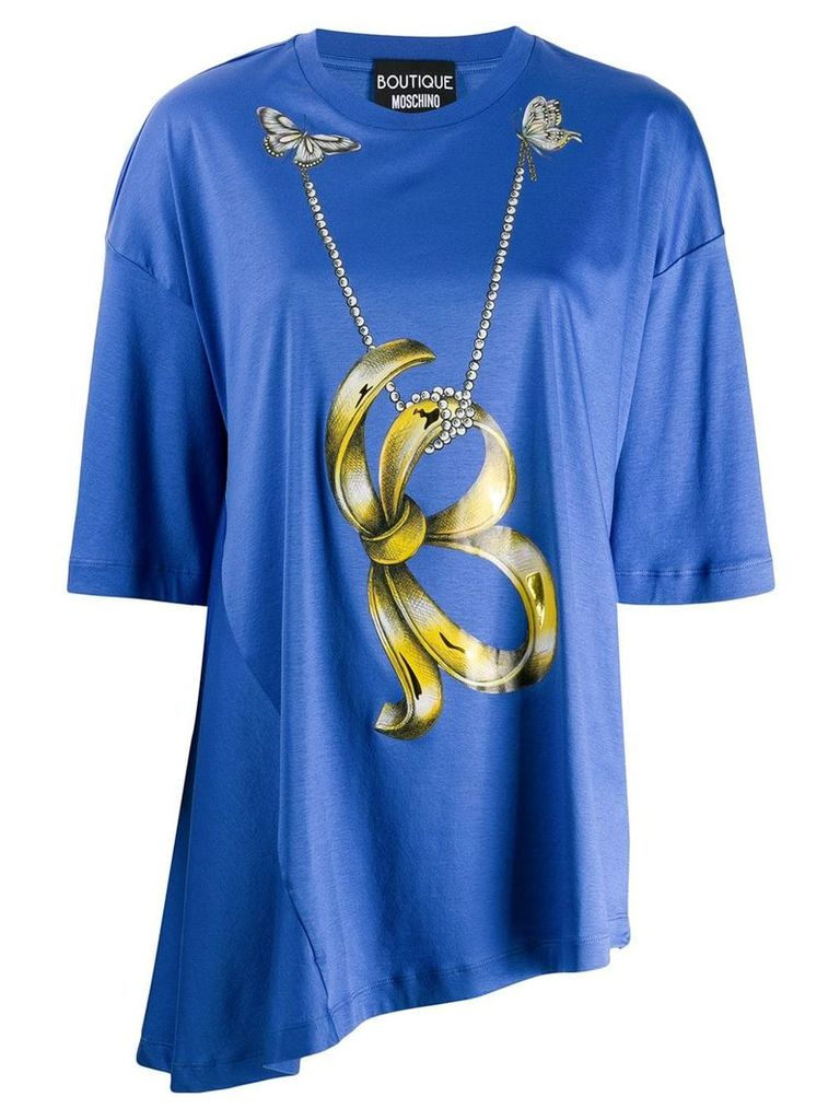 Boutique Moschino asymmetric hem T-shirt - Blue
