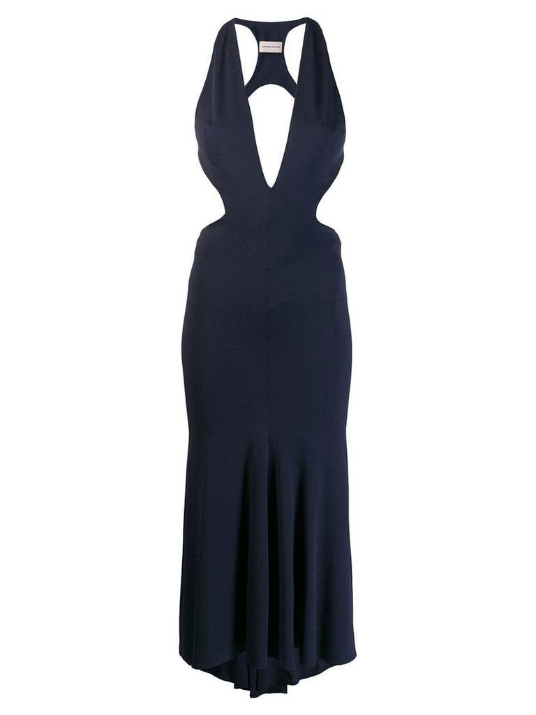 Alexandre Vauthier plunging cut out dress - Blue
