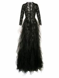 Oscar de la Renta plunging neckline gown - Black