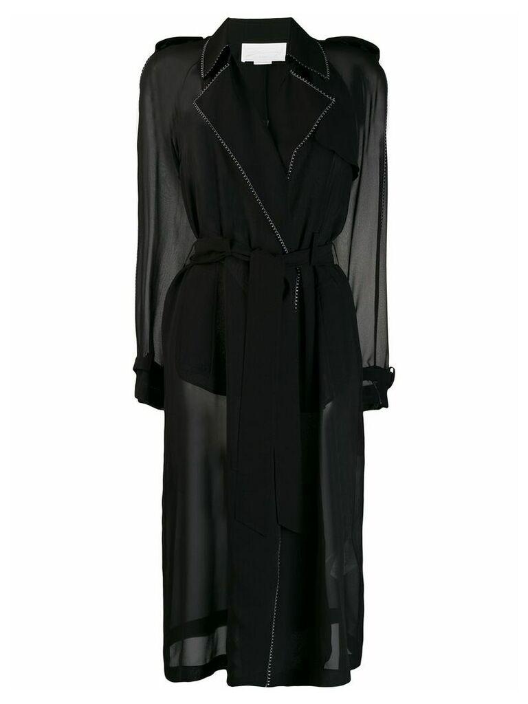 Genny stitching detail coat - Black