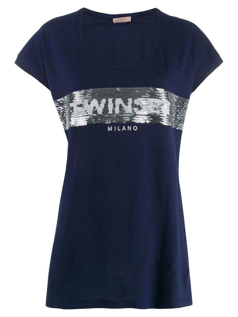 Twin-Set sequined logo T-shirt - Blue