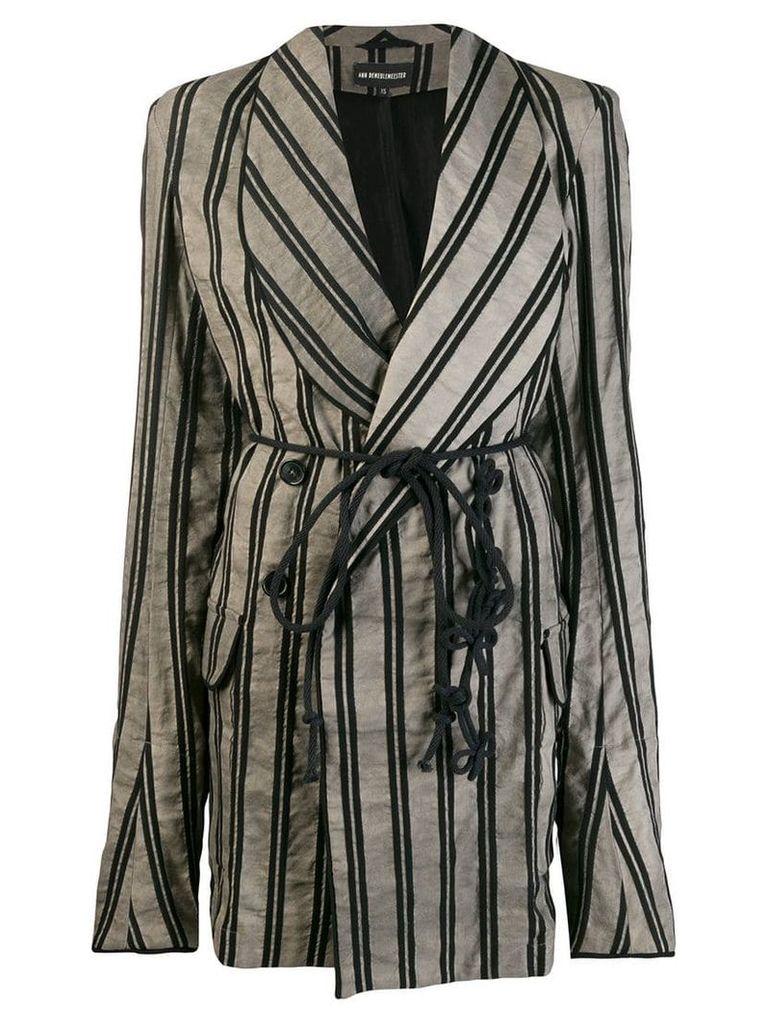 Ann Demeulemeester striped oversized coat - Black