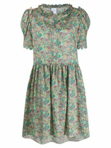 Horror Vacui floral flared dress - Green