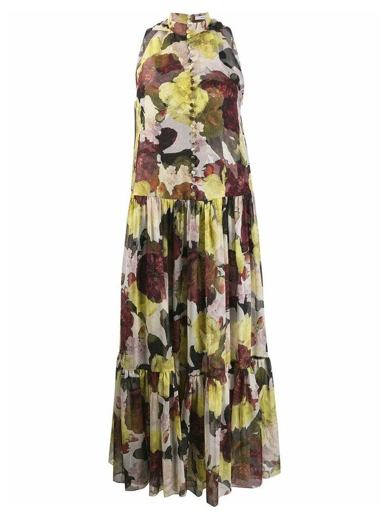 Erdem sleeveless ruffle floral dress - Yellow