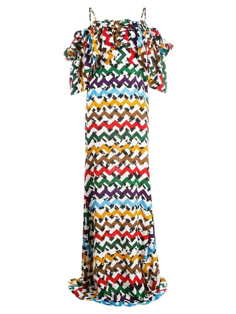 Edeline Lee zigzag cold-shoulder maxi dress - White