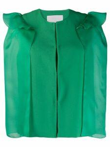 Genny ruffle shoulder cropped blazer - Green