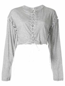 Unravel Project stitched crop top - Grey