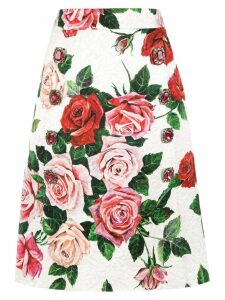 Dolce & Gabbana floral print brocade skirt - White