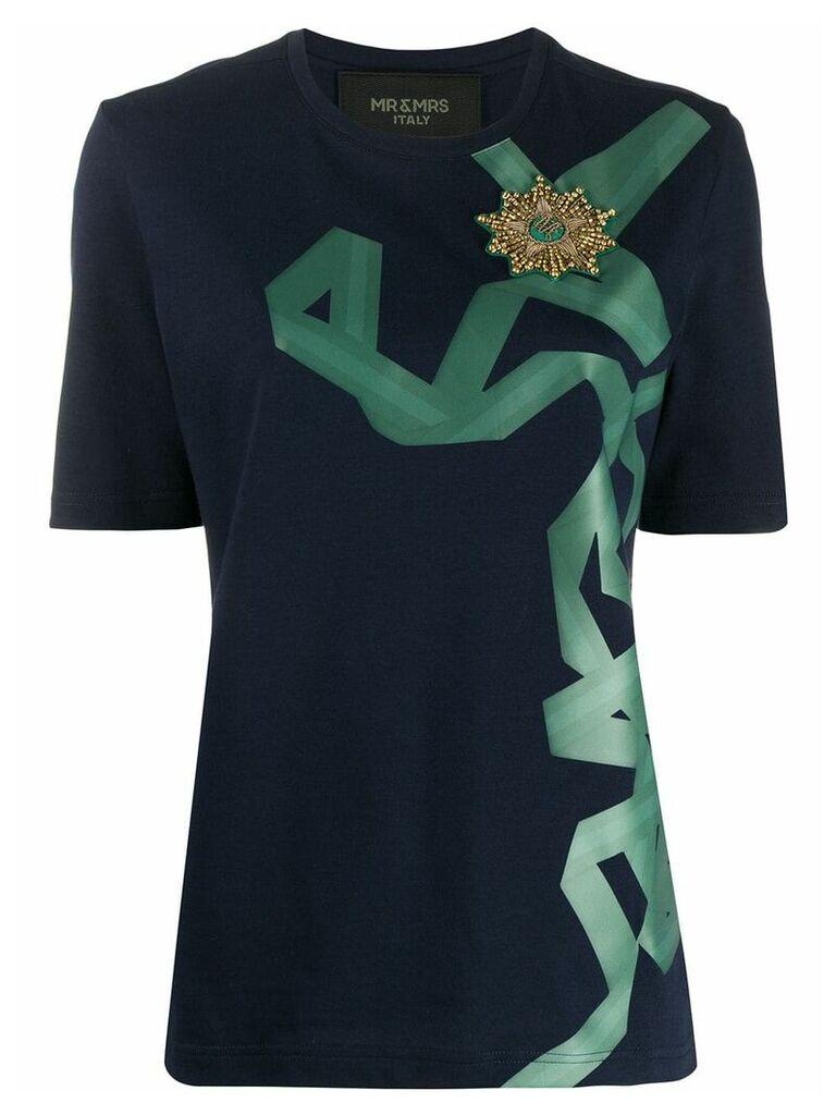 Mr & Mrs Italy ribbon print T-shirt - Blue