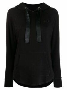 DKNY logo curved hem hoodie - Black