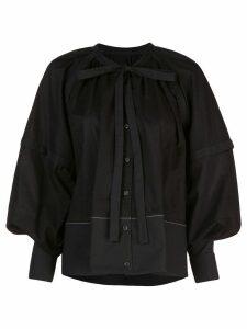 Proenza Schouler L/S Gathered Top-Cotton Voile - Black