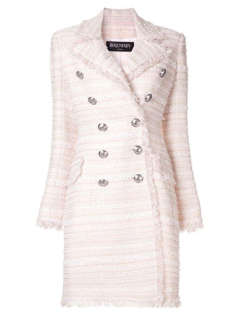 Balmain tweed double breasted coat - Pink