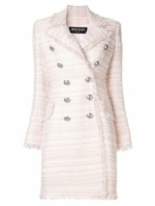 Balmain tweed double breasted coat - Pink