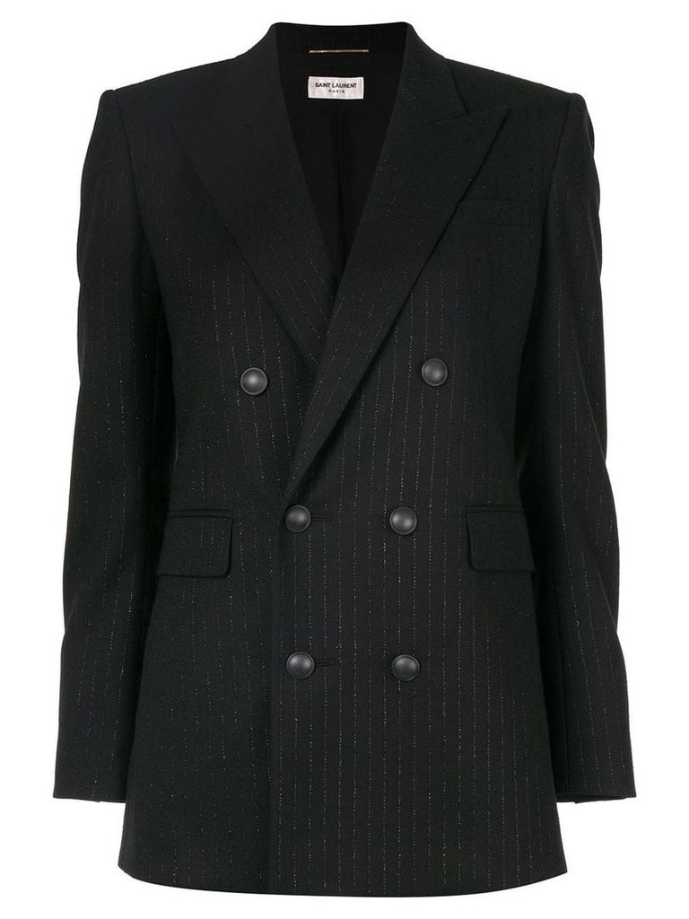Saint Laurent double-breasted pinstripe blazer - Black