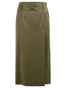 Off-White label patch straight skirt - Green