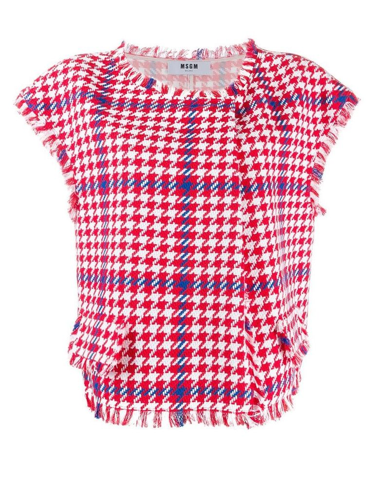 MSGM houndstooth check top - Red