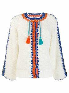 Tsumori Chisato embroidered blouse with tassel - White