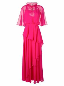 Talbot Runhof ruffled maxi dress - 340 - Fuchsia