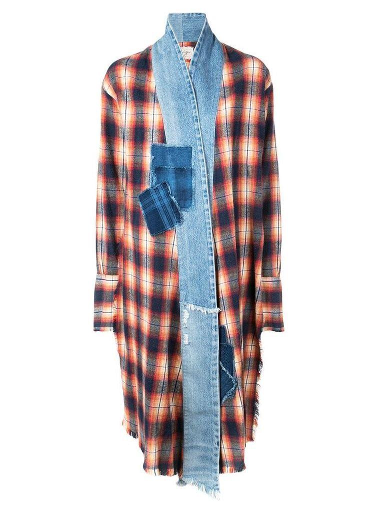 Greg Lauren tartan coat - Blue