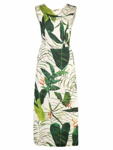 Osklen leaf printed midi dress - Green
