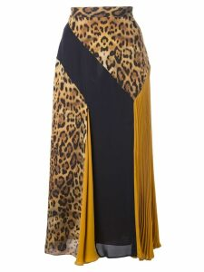 Cushnie leopard pattern panelled skirt - Yellow